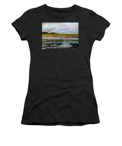 Women's T-Shirt (Junior Cut) featuring the painting Springtime In The Marsh by Michael Helfen