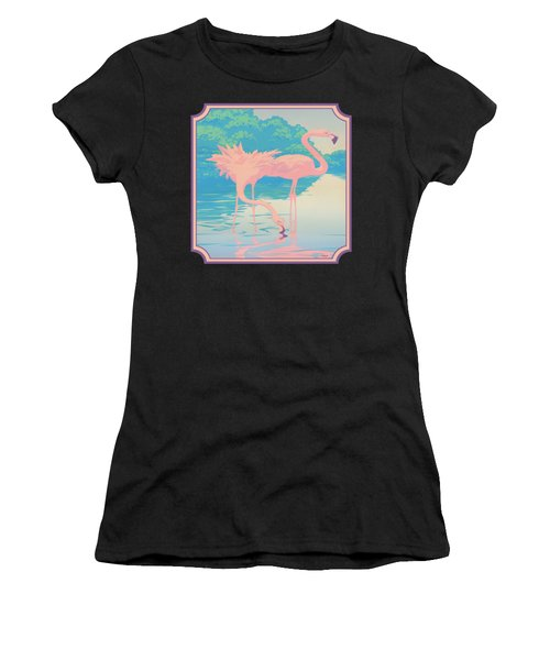 Square Format - Pink Flamingos Retro Pop Art Nouveau Tropical Bird 80s 1980s Florida Painting Print Women's T-Shirt (Athletic Fit)