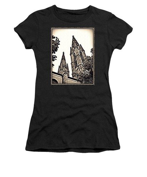 St Boniface Church Towers Sepia Women's T-Shirt (Junior Cut) by Sarah Loft