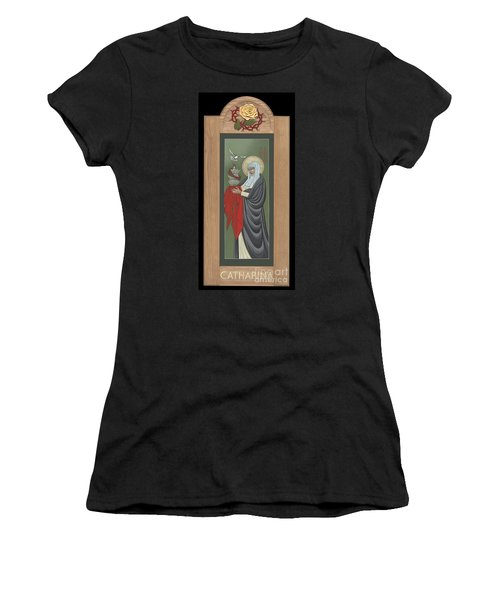 Women's T-Shirt (Athletic Fit) featuring the painting St Catherine Of Siena With Frame by William Hart McNichols