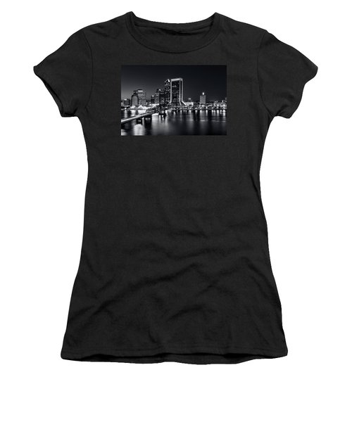 St Johns River Skyline By Night, Jacksonville, Florida In Black And White Women's T-Shirt