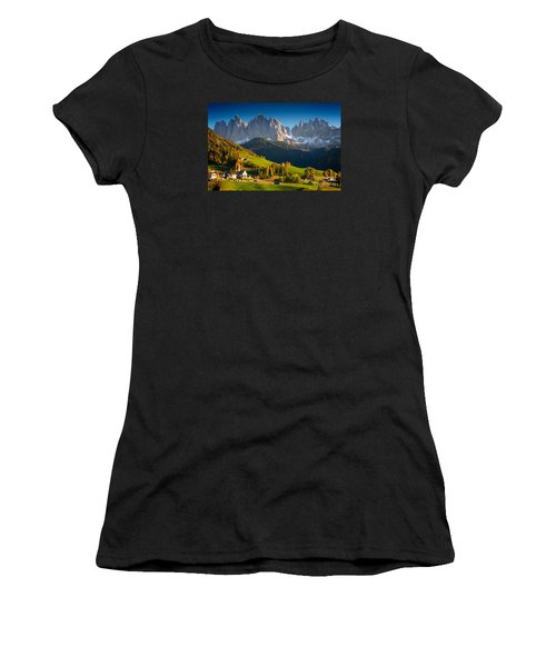 St. Magdalena Alpine Village In Autumn Women's T-Shirt (Athletic Fit)