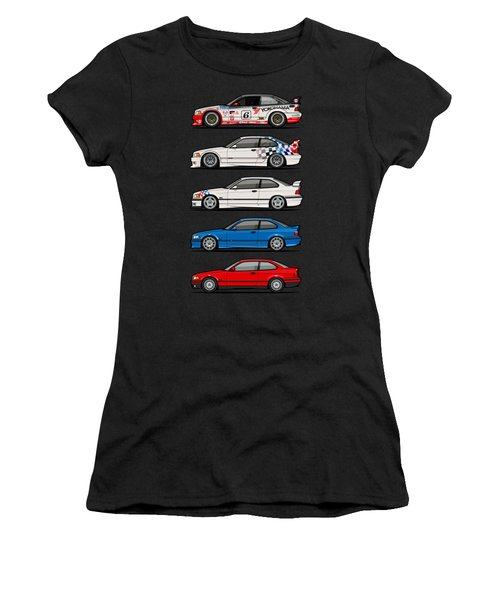 Stack Of Bmw 3 Series E36 Coupes Women's T-Shirt