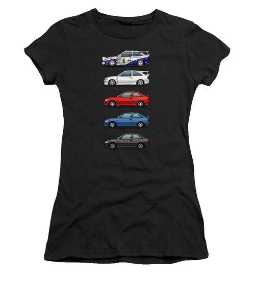 Stack Of Ford Escort Mk.5 Coupes Women's T-Shirt