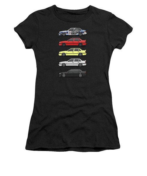 Stack Of Volvo 850r 854r T5 Turbo Saloon Sedans Women's T-Shirt (Athletic Fit)