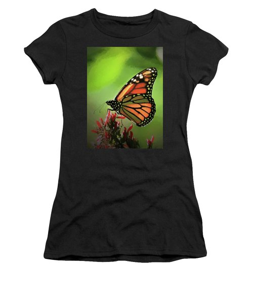 Women's T-Shirt featuring the photograph Stained Glass Butterfly by Penny Lisowski