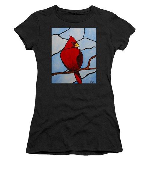 Stained Glass Cardinal Women's T-Shirt