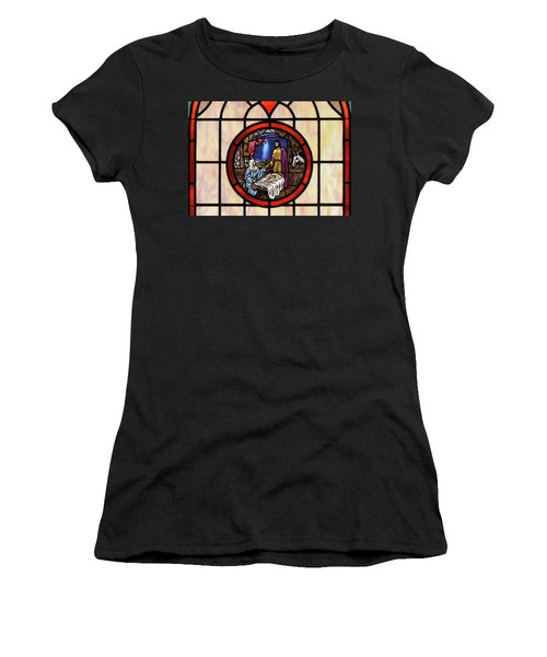 Stained Glass Nativity Window Women's T-Shirt (Athletic Fit)