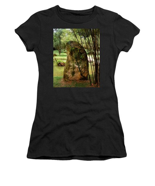 Standing Stone With Fern And Bamboo 19a Women's T-Shirt (Athletic Fit)