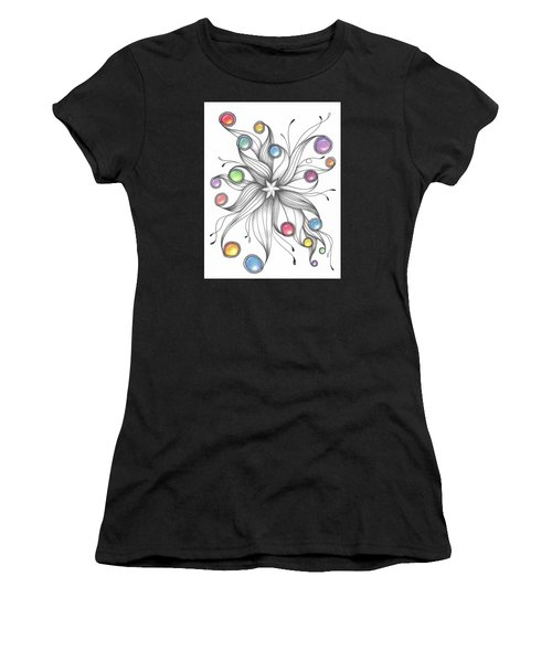 Women's T-Shirt (Athletic Fit) featuring the drawing Starburst by Jan Steinle