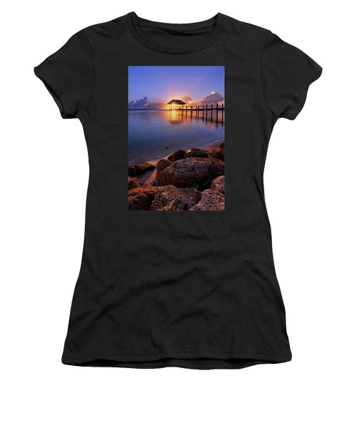 Starburst Sunset Over House Of Refuge Pier In Hutchinson Island At Jensen Beach, Fla Women's T-Shirt (Athletic Fit)