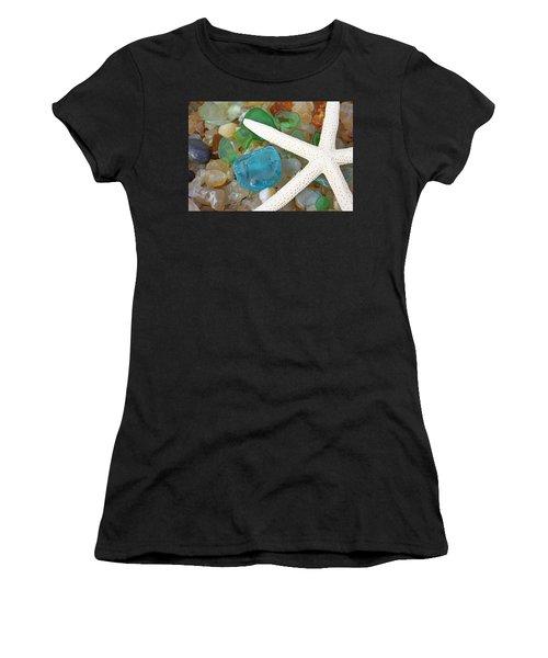 Starfish Art Prints Blue Green Seaglass Sea Glass Agates Women's T-Shirt