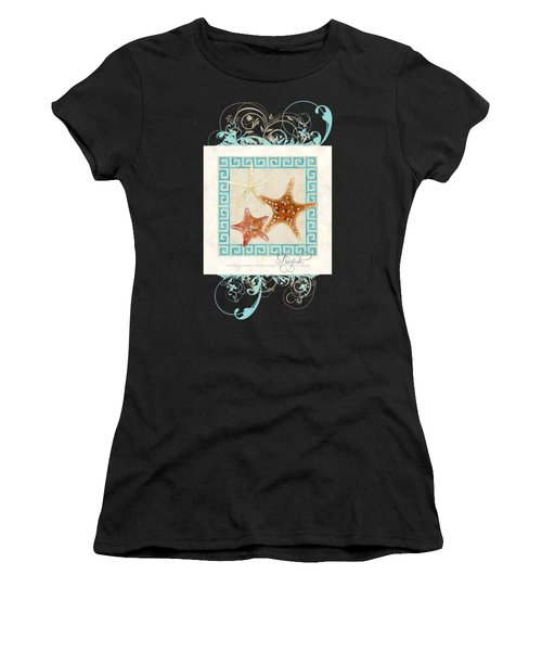 Starfish Greek Key Pattern W Swirls Women's T-Shirt