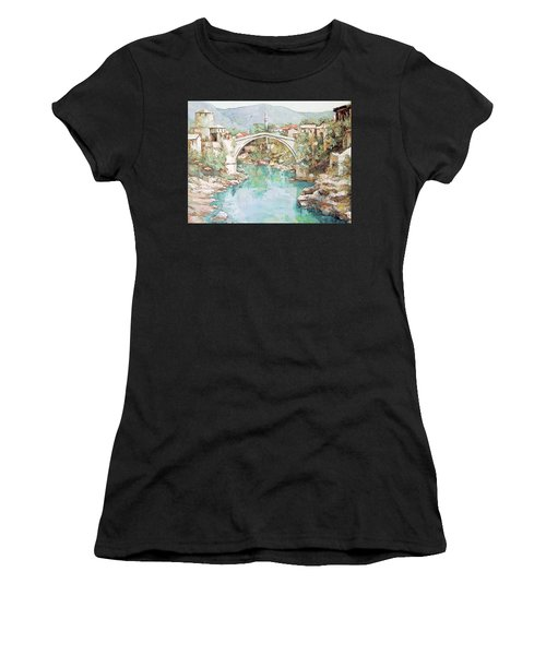 Stari Most Bridge Over The Neretva River In Mostar Bosnia Herzegovina Women's T-Shirt (Athletic Fit)
