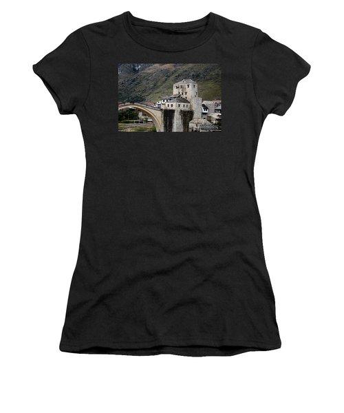 Stari Most Ottoman Bridge And Embankment Fortification Mostar Bosnia Herzegovina Women's T-Shirt