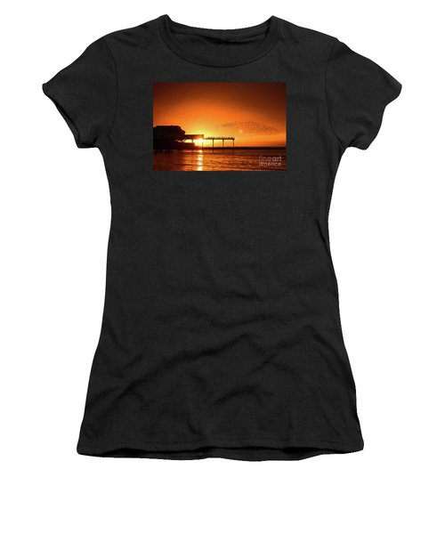 Starlings At Sunset Over Aberystwyth Pier Women's T-Shirt