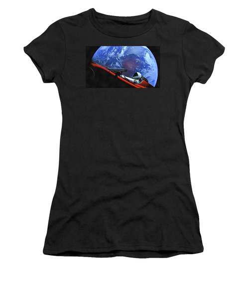 Starman In Tesla With Planet Earth Women's T-Shirt