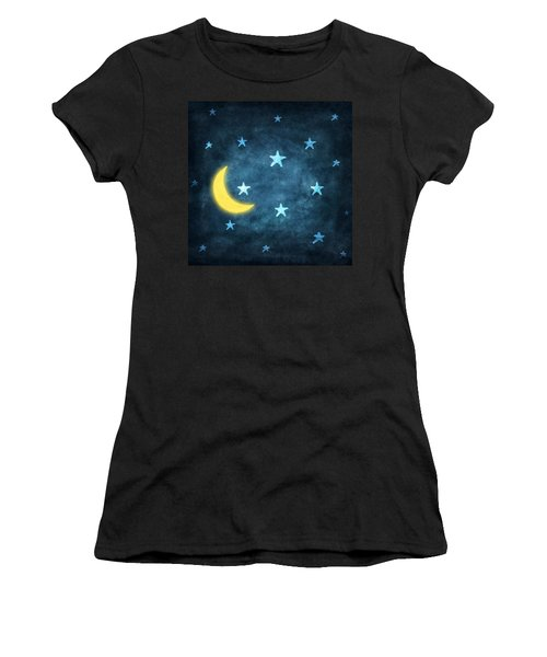 Stars And Moon Drawing With Chalk Women's T-Shirt (Athletic Fit)
