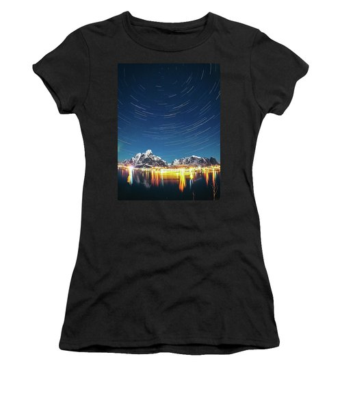 Startrails Above Reine Women's T-Shirt (Athletic Fit)