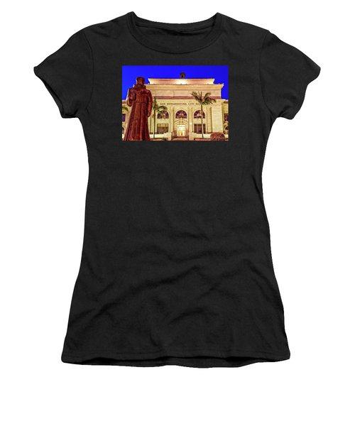 Statue Of Saint Junipero Serra In Front Of San Buenaventura City Hall Women's T-Shirt (Athletic Fit)