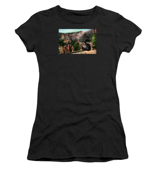 Women's T-Shirt (Junior Cut) featuring the photograph Steam Through The Rock Formations by Ken Smith