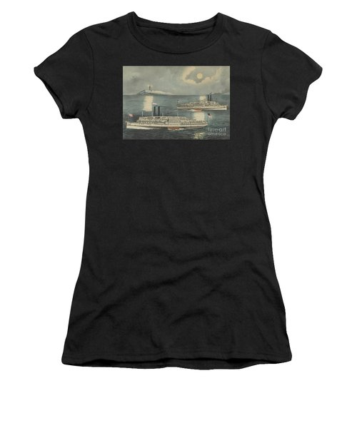 Steamboats Passing At Midnight On Long Island Sound Women's T-Shirt