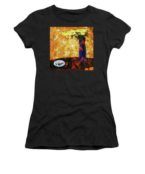 Women's T-Shirt (Junior Cut) featuring the painting Still Life. Cherries For The Queen by Anastasija Kraineva
