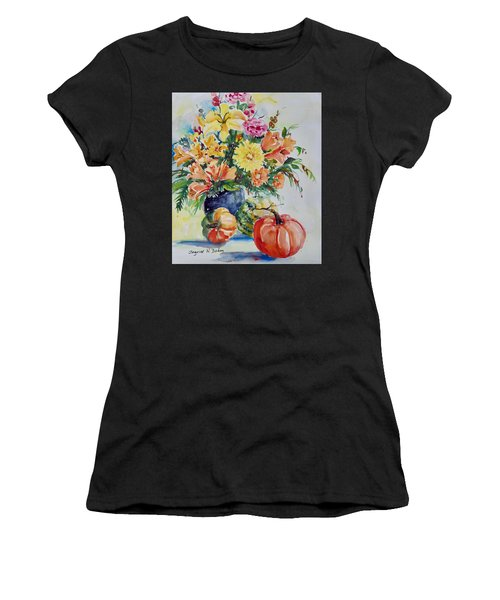Women's T-Shirt featuring the painting Still Life Wirh Pumpkins by Ingrid Dohm