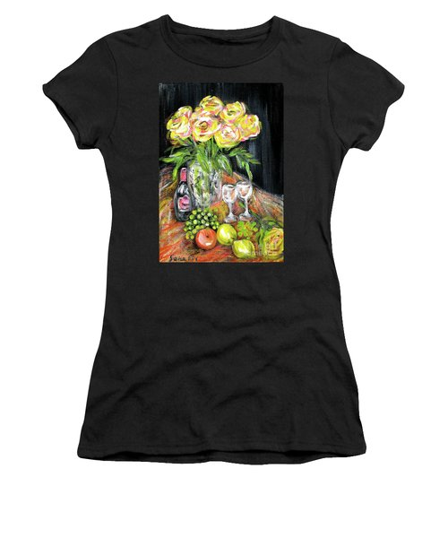 Still Life With Roses, Fruits, Wine. Painting Women's T-Shirt (Athletic Fit)
