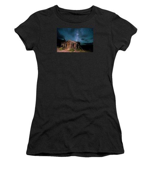 Still Night At Old Cabin Women's T-Shirt (Junior Cut) by Michael J Bauer