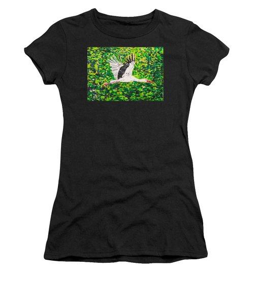 Stork In Flight Women's T-Shirt (Junior Cut) by Valerie Ornstein