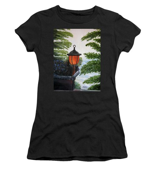 Women's T-Shirt (Junior Cut) featuring the painting Storm On Lake Of The Woods by Marilyn  McNish
