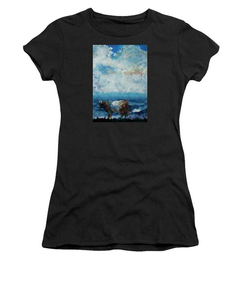 Storms Coming - Belted Galloway Cow Under A Colorful Cloudy Sky Women's T-Shirt