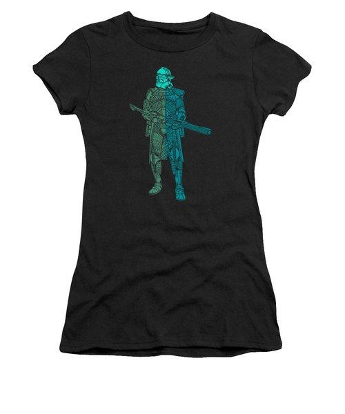 Stormtrooper Samurai - Star Wars Art - Blue, Navy, Teal Women's T-Shirt