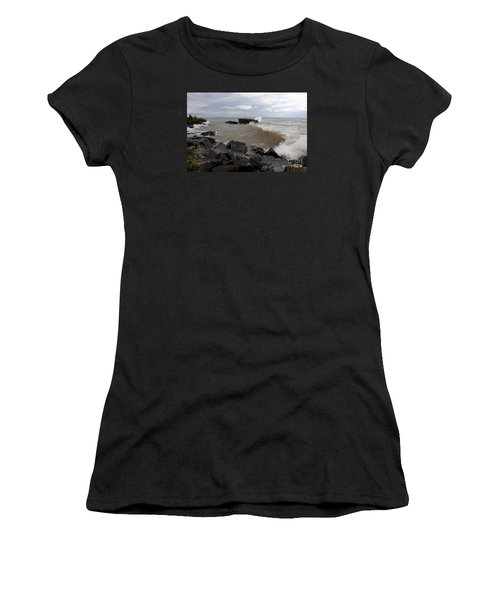 Women's T-Shirt (Junior Cut) featuring the photograph Stormy Superior Morning by Sandra Updyke