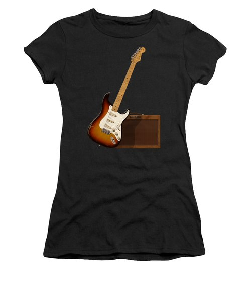 Women's T-Shirt (Junior Cut) featuring the digital art Strat And Tweed Amp by WB Johnston