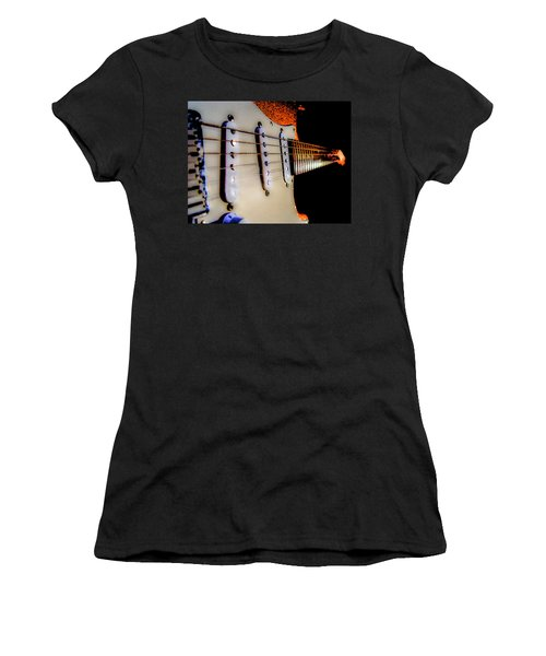 Women's T-Shirt (Athletic Fit) featuring the photograph Stratocaster Pop Art Tangerine Sparkle Fire Neck Series by Guitar Wacky