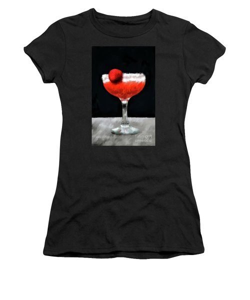 Women's T-Shirt (Athletic Fit) featuring the digital art Strawberry Margarita by Lois Bryan
