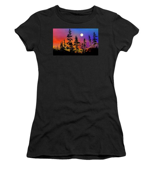 Women's T-Shirt (Athletic Fit) featuring the painting Strawberry Moon Sunset by Hanne Lore Koehler