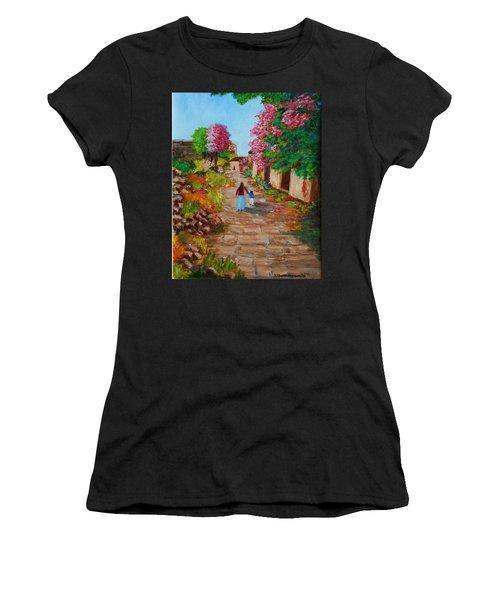 Street In Monemvasia Women's T-Shirt (Athletic Fit)