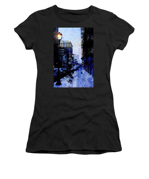 Street Lamps Sidewalk Abstract Women's T-Shirt (Athletic Fit)