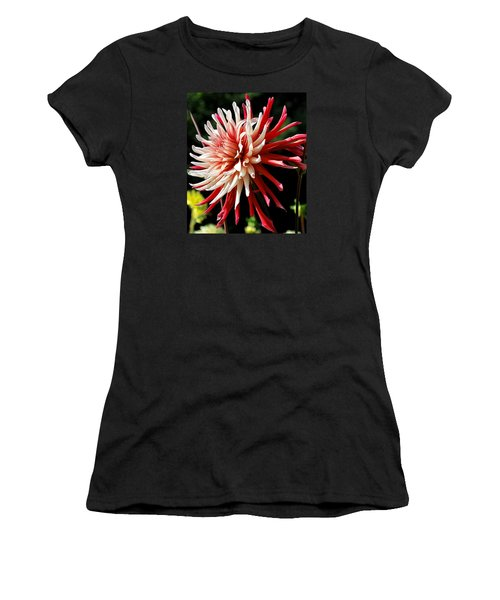 Striking Dahlia Red And White Women's T-Shirt (Athletic Fit)