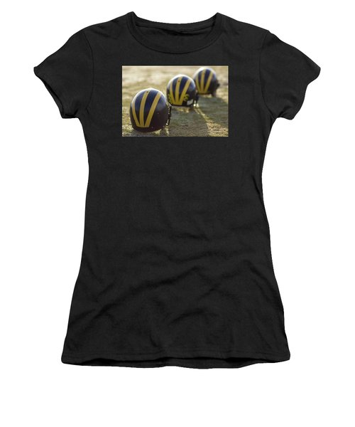 Striped Helmets On A Yard Line Women's T-Shirt (Athletic Fit)