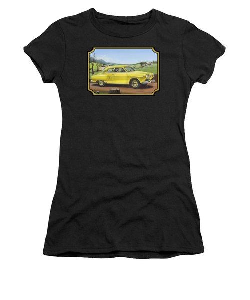 Studebaker Champion Antique Americana Nostagic Rustic Rural Farm Country Auto Car Painting Women's T-Shirt