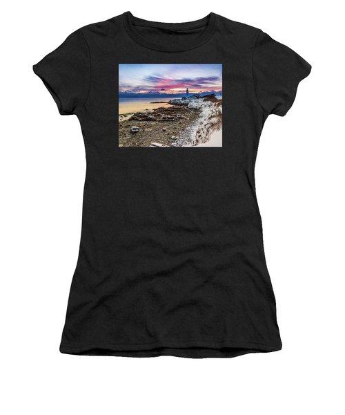 Subtle Sunrise At Portland Head Light Women's T-Shirt