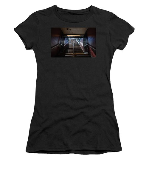 Women's T-Shirt (Junior Cut) featuring the photograph Subway Stairs To Freedom by Rob Hans