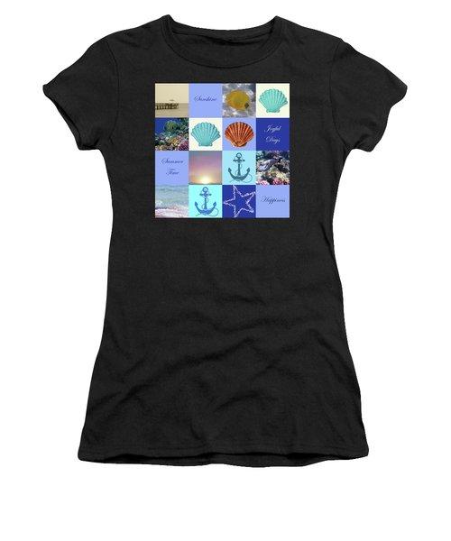 Summer Beach House Collage Women's T-Shirt