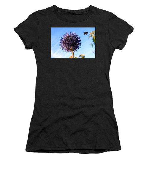 Women's T-Shirt (Athletic Fit) featuring the photograph Summer Busy Bee by Roger Bester