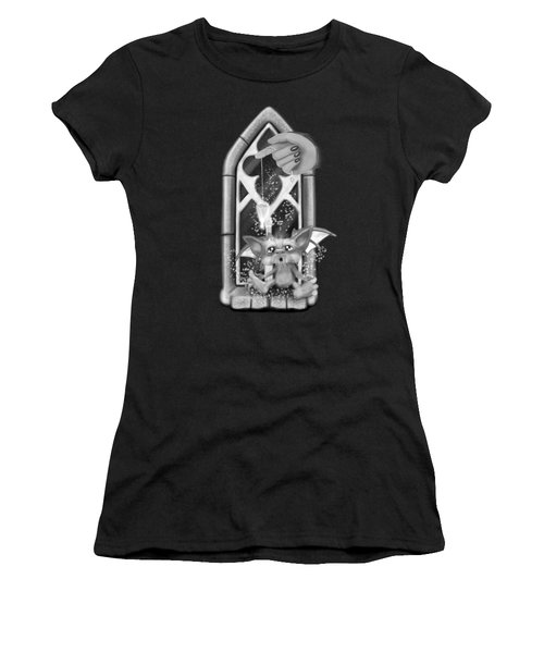 Summoned Pet - Black And White Fantasy Art Women's T-Shirt (Athletic Fit)