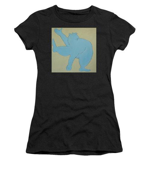 Women's T-Shirt (Junior Cut) featuring the painting Sumo Wrestler In Blue by Ben Gertsberg